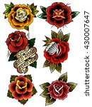 traditional tattoo flowers set...