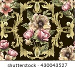 pattern with gold baroque...