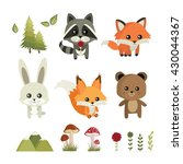 Forest Animals. Raccoon  Fox ...