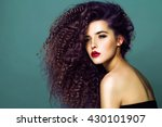beauty young woman with curly... | Shutterstock . vector #430101907