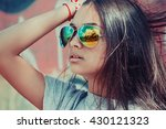 sunglasses city view reflection.... | Shutterstock . vector #430121323