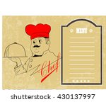 chef holding silver platter... | Shutterstock .eps vector #430137997