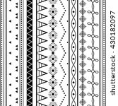 black and white ethnic patterns.... | Shutterstock .eps vector #430182097