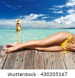 girl on a tropical beach with... | Shutterstock . vector #430205167