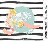 citrus lemon fruit slices with... | Shutterstock .eps vector #430289767