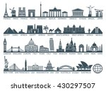 Icon architectural monuments and world tourist attractions | Shutterstock vector #430297507