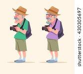 elderly man  travel ... | Shutterstock .eps vector #430305697
