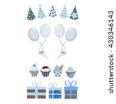 party set with balloons and hats | Shutterstock .eps vector #430346143