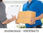 woman hand signing receipt of... | Shutterstock . vector #430356673