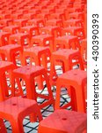 rows of red plastic chair | Shutterstock . vector #430390393