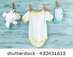 baby clothes and white bear toy ... | Shutterstock . vector #430431613