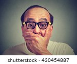 Small photo of portrait of amazed scared man