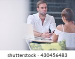 businessman busy interviewing...   Shutterstock . vector #430456483