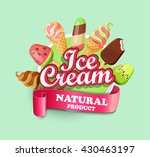 ice cream emblem  label and... | Shutterstock .eps vector #430463197