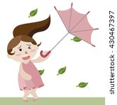 Girl Hold Upturned Umbrella In...