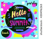 hello summer beach party.... | Shutterstock .eps vector #430496263