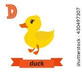 Duck. D Letter. Cute Children...