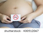 pregnant woman holding label... | Shutterstock . vector #430512067