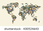 abstract world map with morocco ... | Shutterstock .eps vector #430524643