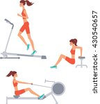 female exercising at rowing ... | Shutterstock .eps vector #430540657