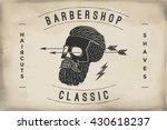 poster of barbershop label on a ... | Shutterstock .eps vector #430618237