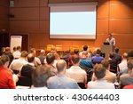 speaker giving a talk in...   Shutterstock . vector #430644403