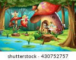 fairies flying around mushroom... | Shutterstock .eps vector #430752757