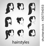 different woman hair styles set.... | Shutterstock .eps vector #430754053