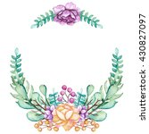wreath with watercolor yellow... | Shutterstock . vector #430827097