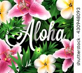 aloha hawaii. hand lettering... | Shutterstock .eps vector #430948093