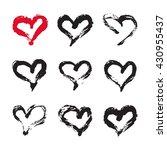 ink hearts card. set of 9 hand... | Shutterstock . vector #430955437