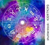 circle with signs of zodiac on... | Shutterstock .eps vector #430979293