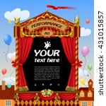 puppet show booth with theater... | Shutterstock .eps vector #431015857