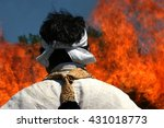 Small photo of OSWIECIM, POLAND - JUNE 13, 2006 : Agon Shu, ceremony of burning fire