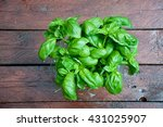 beautiful mint plant on wooden... | Shutterstock . vector #431025907