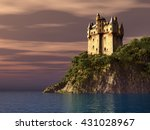 scottish castle by the sea... | Shutterstock . vector #431028967