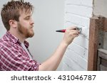 man painting house wall with... | Shutterstock . vector #431046787