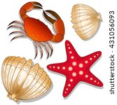 set of marine inhabitants. crab ... | Shutterstock .eps vector #431056093