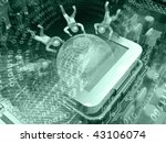 cobweb  digits and motherboard... | Shutterstock . vector #43106074