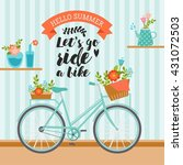 Stock vector let s go ride a bike awesome summer illustration in pastel colors vintage bicycle with floral 431072503