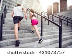 man and woman jogging on the... | Shutterstock . vector #431073757
