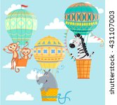 hot air balloons with animals.... | Shutterstock .eps vector #431107003