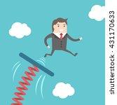 businessman jumping from... | Shutterstock .eps vector #431170633