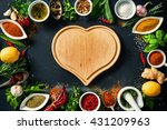herbs and spices over black... | Shutterstock . vector #431209963