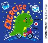 cartoon baby dinosaur riding... | Shutterstock .eps vector #431210713