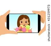 smartphone photo of cute girl...   Shutterstock .eps vector #431259973