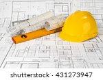 yellow helmet  level and... | Shutterstock . vector #431273947