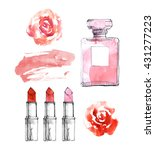 perfume bottle with red...   Shutterstock . vector #431277223