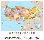 turkey detailed administrative... | Shutterstock .eps vector #431316757