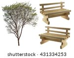 Set Of Garden Tree And Wooden...
